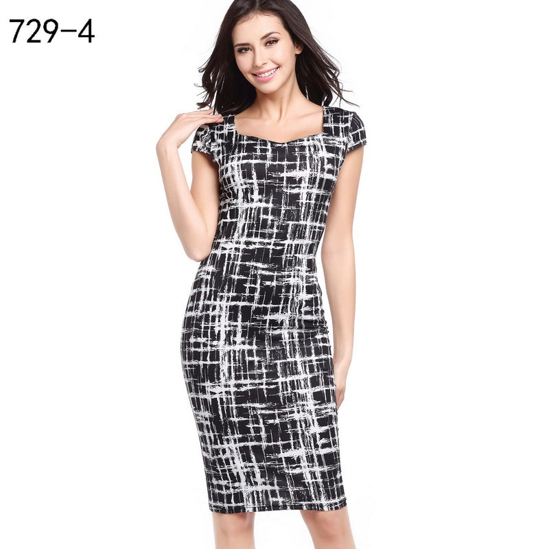 ee8370bd76 ... Spring Summer Vintage Women Sexy Dress Short Sleeve Knee Length Bodycon  Dress Plus Size Office Lady ...