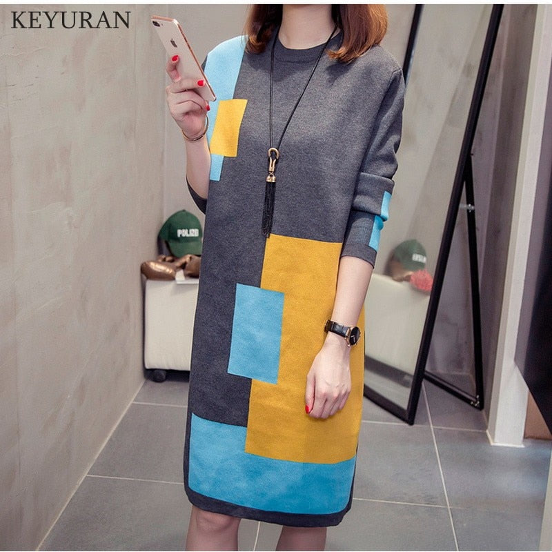 1ca91cea87 Hover to zoom · Spring Women Long Sweater Dress Autumn   Winter Women s  Knitted Large Size Long-sleeve Spell