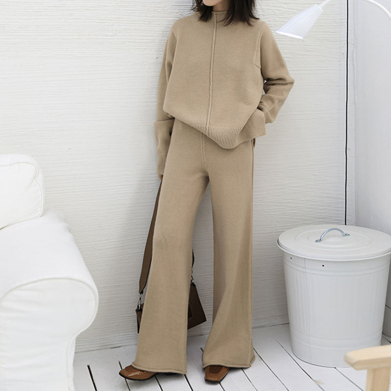 7140015428 Spring Women s Sweater Suit Autumn New 2018 Fashion Knitting Two piece set  Female Crop Top Wide. Hover to zoom