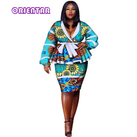 Spring african skirt suits Dashiki for women elegant lady skirt set femme Bazin Riche cotton set plus size two pieces WY2858 1