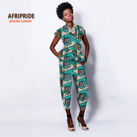 Spring new fabric pattern shortsleeve jumper suit african clothes for women bazin riche casual femme fashion clothing A722610