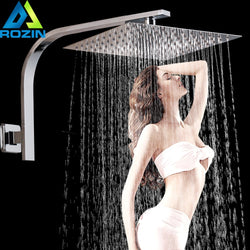 Square Wall Mount Shower Arm Stainless Steel Rainfall Shower Head Bathroom Shower Head Bracket Square Shower Pipe
