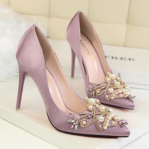 96e90dc7ab Star Style Women Fashion Pearl Crystal High Heels Shoes 2017 New Women's  Sexy Pointed Toe Shallow Solid Silk Elegant Party Shoes