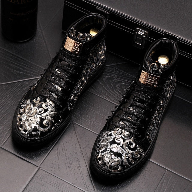 Stephoes 2019 Men Fashion Casual Ankle Boots Spring Autumn Rivets Luxury  Brand High Top Sneakers Male High Top Punk Style Shoes