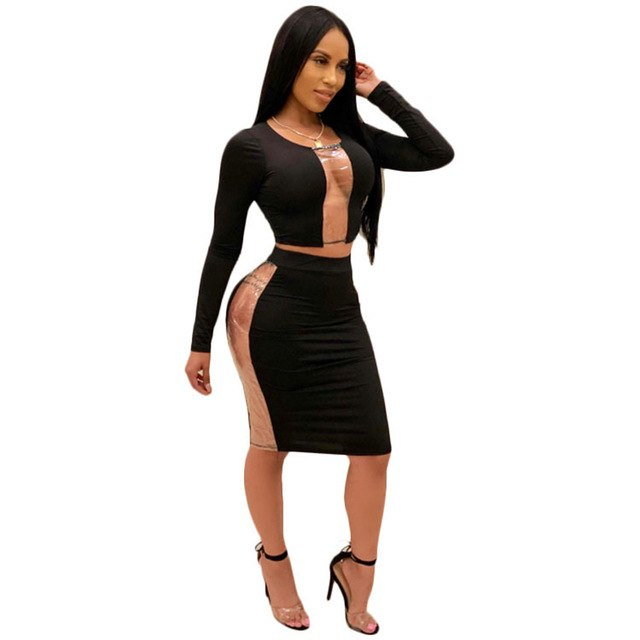46da3778b Hover to zoom · Stitching Mesh Patchwork Two Piece Set Top And Skirts  Womens Sexy See Through Woman ...