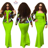 Stock Size Low Price African 2 Pieces Set for Women Dashiki Crop Top Long Dress Suits Plus Size Traditional Clothing WY1313