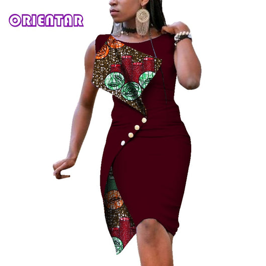 Stock Size Low Price African Dresses for Women Sexy Bazin Riche African Print Cotton Dress Lady Elegant Short Dresses WY352