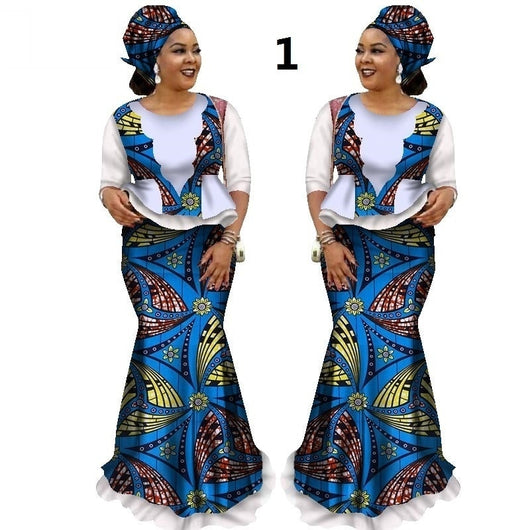 Stock Size Low Price African Skirt Sets for Women Dashiki Half Sleeve Tops & Skirt Africa Wax Print Clothing WY1681