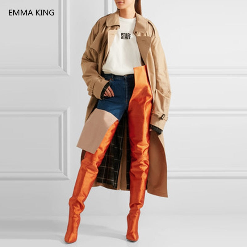 great variety models wholesale new varieties Street Runway Fluorescent Orange High Waist Over The Knee Boots Women Sexy  Satin Popular Trendy Thigh High Boots For Women Shoes