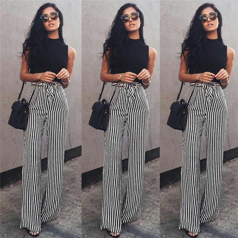 f3994a84a681e Striped Palazzo Wide Leg Pants Women Drawstring Long Loose High Waist  Trousers Ladies Plus Size Flat
