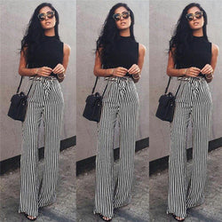Striped Palazzo Wide Leg Pants Women Drawstring Long Loose High Waist Trousers Ladies Plus Size Flat Pants