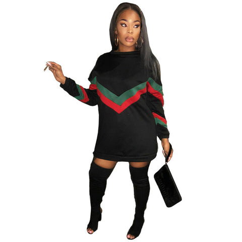 Striped Patchwork Women Sexy Autumn Dress Long Sleeve O Neck Mini Dress Zipper Robe Femme GL6061