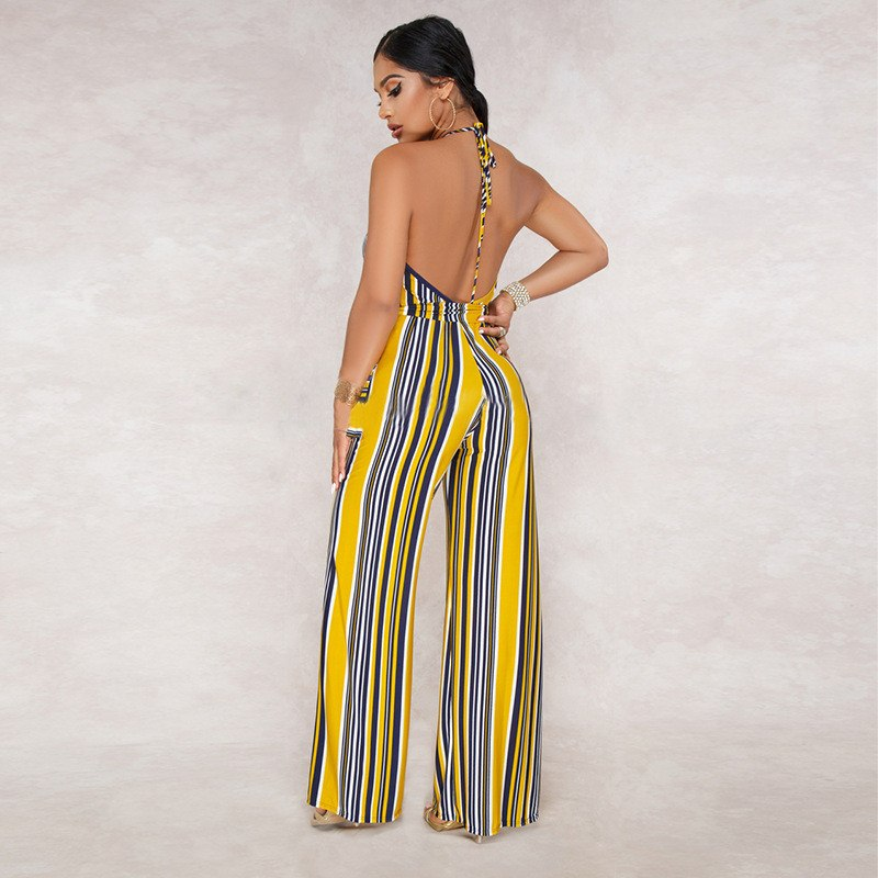 618200a7a731 Striped Rompers Womens Jumpsuit Summer Plunge V Neck Sexy Overalls ...