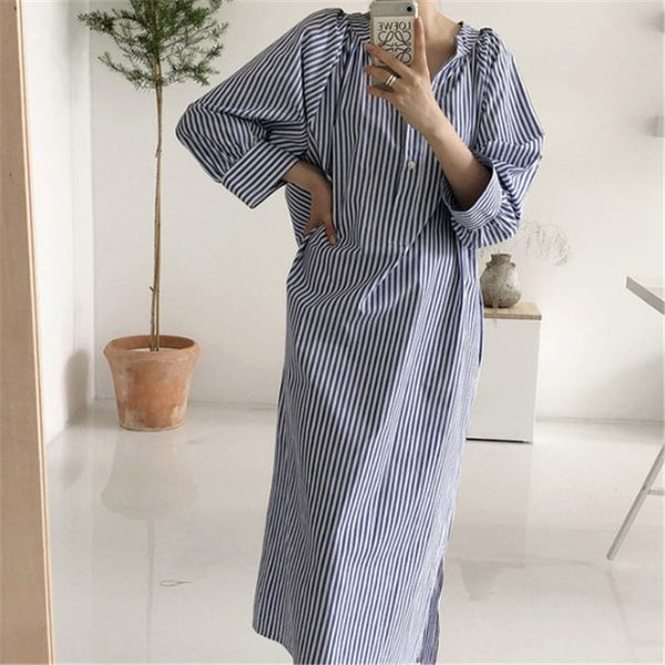 Striped Straight Long Dress Women 2020 Spring Summer V Neck Button Casual Streetwear Blue White Female Maxi Vestidos