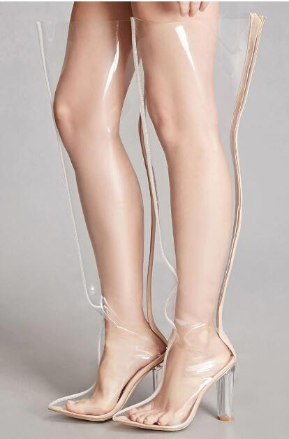834aab2f2e Hover to zoom · Stylish Chyna Perspex Long Boots In Clear Peep Toes  Transparent ...