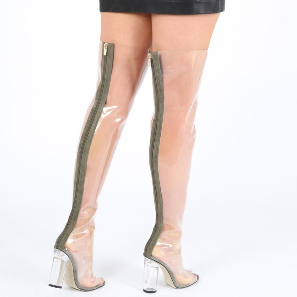b77b074ab2 Stylish Chyna Perspex Long Boots In Clear Peep Toes Transparent PVC Over  Knee Boots Women Tight. Hover to zoom