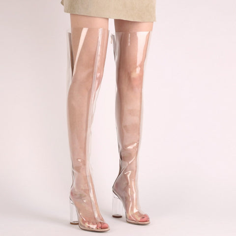 727a7358d5 ... Image of Stylish Chyna Perspex Long Boots In Clear Peep Toes  Transparent PVC Over Knee Boots ...