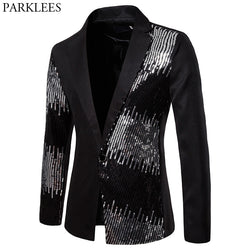 Stylish Sequin Patchwork Black Suits &Blazer Men 2019 Brand New One Button Slim Fit Blazer Male Party Stage Prom Costume Homme