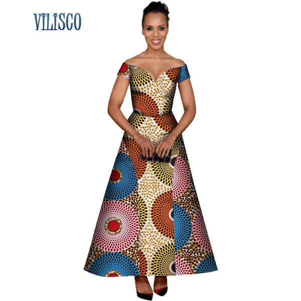 Summer African 100% Wax Cotton Print Dresses for Women Vestidos Patchwork Maxi Long Dresses Bazin Riche African Clothing WY3077