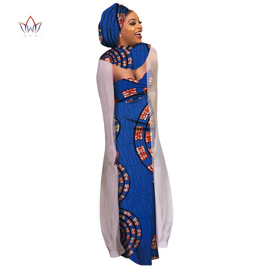 Summer African Cotton plus size clothing for women african style Long Dress Bazin Riche print womens clothing dresses WY6787