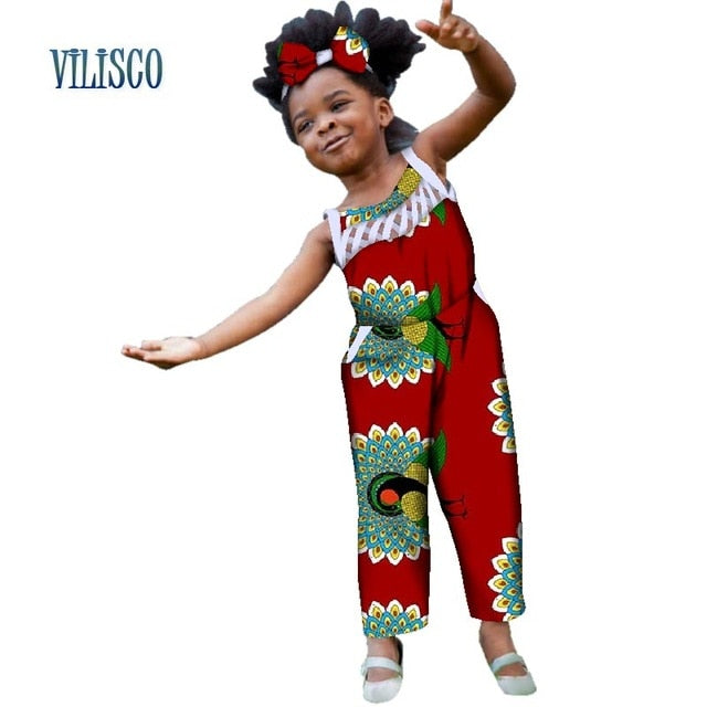 Summer African Print Jumpsuits With Bow Headtie For Kids Girls