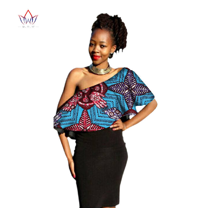adcdb9f06 Summer African Sexy Crop Tops Bazin Riche Fabric Wax Print Shirts Plus Size  Top Women Africa. Hover to zoom