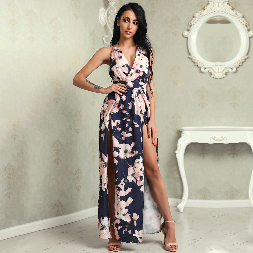 c841b1aa3cc9 ... Summer Beach Elegant Casual Women Dresses Deep V Floral Crisscross Back  High Slit Maxi Dress ...