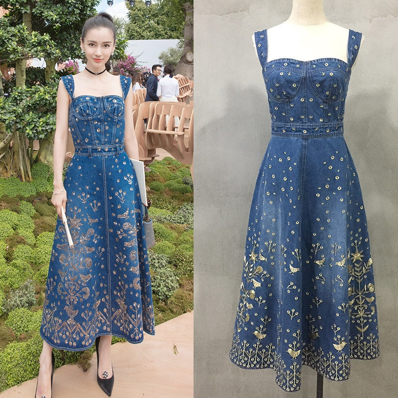 6692e3ee355 Hover to zoom · Summer Blue Long Denim Dress Women 2018 Runway Sexy  strapless Floral Gold Embroidery ...