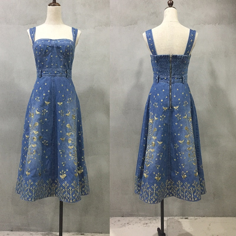 e8b54cc6124 ... Summer Blue Long Denim Dress Women 2018 Runway Sexy strapless Floral  Gold Embroidery Party Jeans Maxi ...
