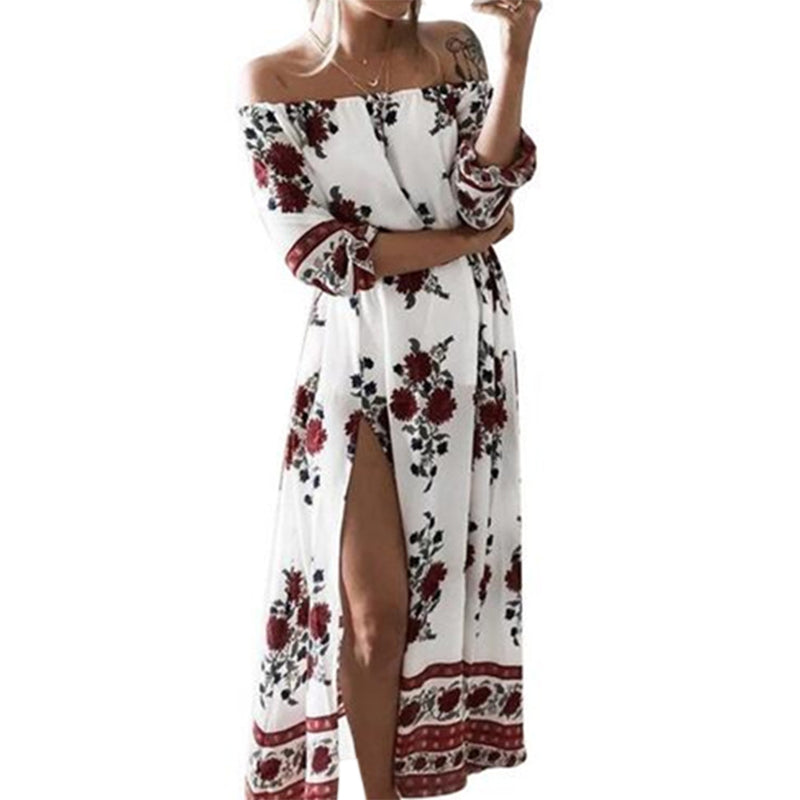 a220a1749 Hover to zoom · Summer Boho Dress Slash Neck Off shoulder Sexy Split Maxi  Dresses 2018 Floral Printed Women Bohemian