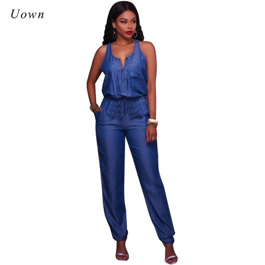 New Women Fashion Single Breasted Pockets Solid Casual Club Short Denim Jumpsuit