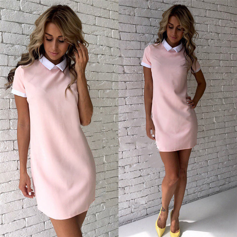 17ee42201ed Summer Dress Robe 2018 Women Turn-down Collar Short Sleeve Office Dresses  Casual Straight Mini. Hover to zoom