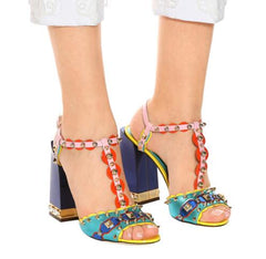 e8846386a761 Summer Girl 2018 Rainbow Sandals Gladiator Shoes Thick Heeled Ladies Party  Shoes Studs Straps Female Wedding ...