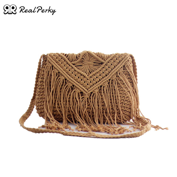 Summer Handmade Woven Tassel Straw Bags Women Vintage Square Cotton Bags Handbags Female Knitted Fashion Shoulder Beach Bags