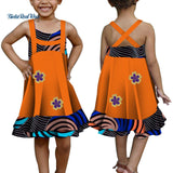 Summer Lovely Applique 100% Cotton A-line Dress Bazin Riche African Print Dresses for Kids Child African Style Clothing WYT336