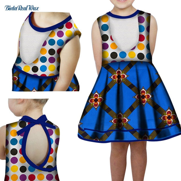 Summer Lovely Bow Knot 100% Cotton A-line Dress Bazin Riche African Print Dresses for Kids Child African Style Clothing WYT332