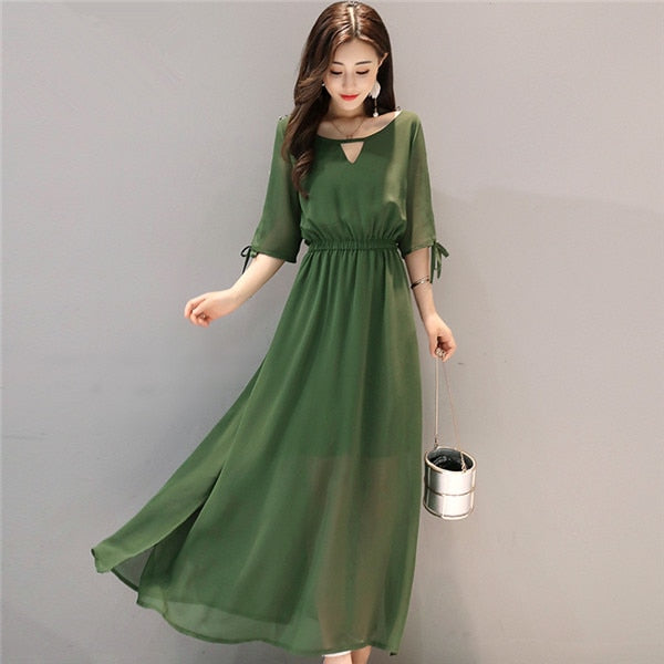 Maxi Chiffon Jurk.Summer Maxi Women Dress Short Sleeve Adjustable Waist Elegant Long