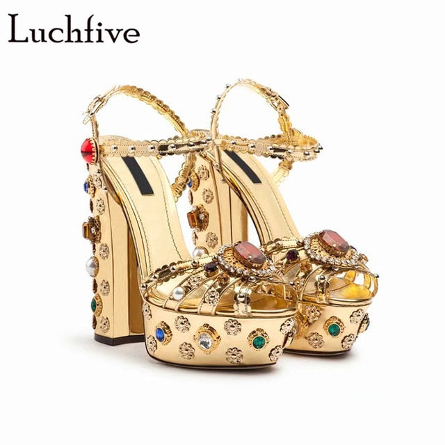 c69a85ed14b27 Summer Peep Toe Rhinestone Sandals Gold High Heel Party Wedding Shoes Sexy  Buckle Straps Diamond Platform. Hover to zoom