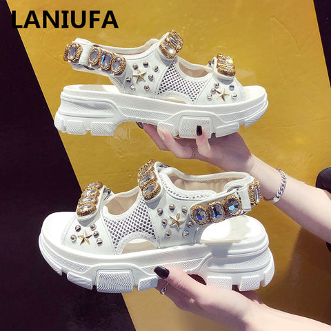 Summer Rhinestone Women Sandals shoes women 2019 Breathable Comfortable Non-slip Ladies Walking Beach Sandals women Shoes &73