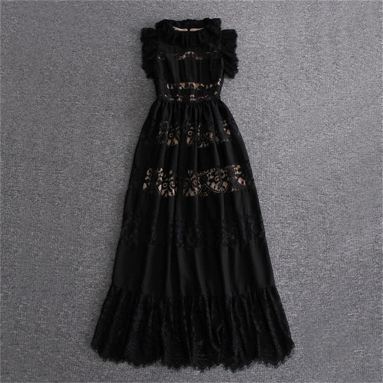 Summer Runway Dresses 2018 Women High Quality Hollow Out Vintage ...