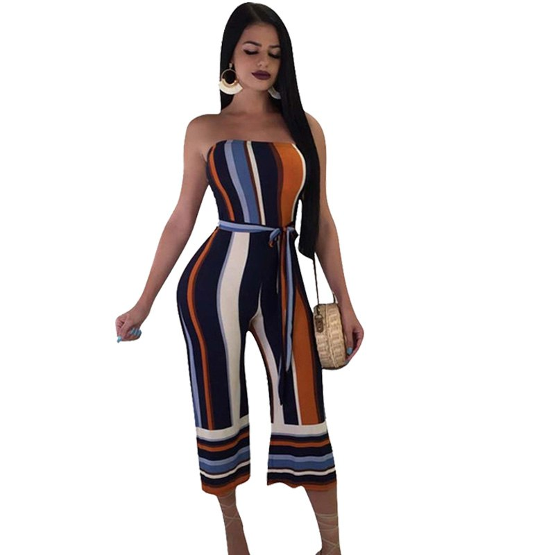 84d57b0ba2df ... Off Shoulder Backless Striped Rompers Womens Jumpsuit. Hover to zoom
