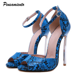 Summer Sexy Snake pattern Peep toe Women Sandals 14cm Ultra high heels Gladiator sandals Plus size 35-42 Party Club Shoes Woman