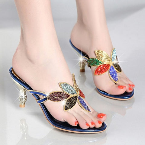 Summer Shoes New Lady Thin Heel Pumps Sexy Crystal Rhinestone Design Women Shoes Elegant Ladies Flip Flop Slippers3172
