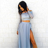 Summer Skirt Women 2 Piece Set Sexy Lace Slash Neck Long Sleeve Crop Tops + High-split Long Skirt Casual Women Beach Dress EY11