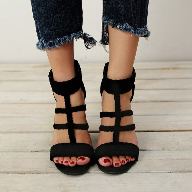 71dbfe62a Summer Style Bohemia High-Heel Thong Women Sandals Woman Vintage Weaving  Women Black Shoes Beach. Hover to zoom