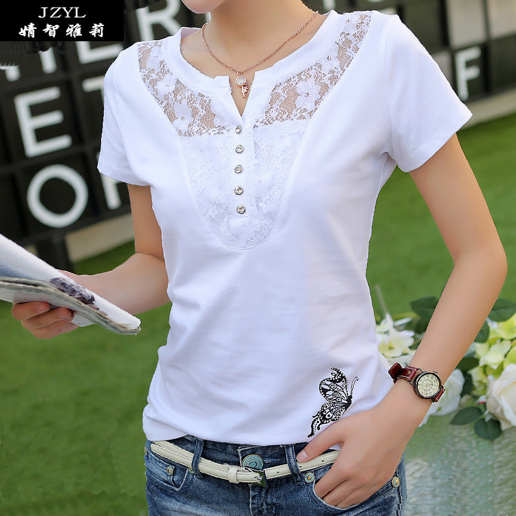3143059a4 Summer T-shirt Women Casual Lady Top Tees Cotton White Tshirt Female Brand  Clothing T. Hover to zoom