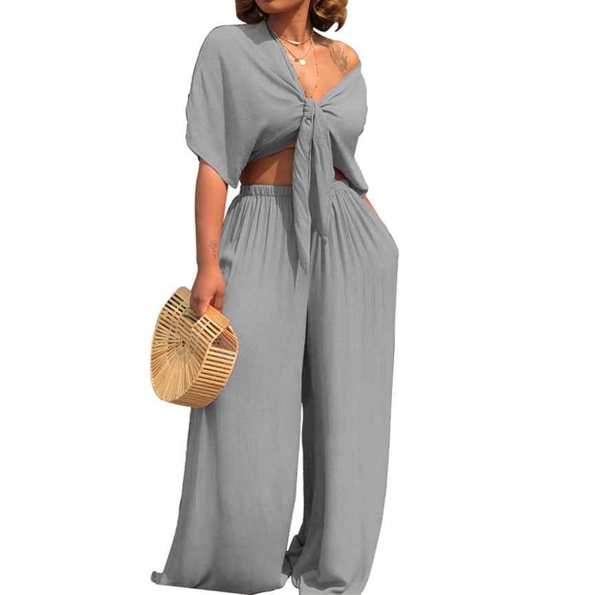 907460cce Summer Two Piece Set Women 2 Piece Pants And Crop Top Sexy Deep V Neck  Short. Hover to zoom