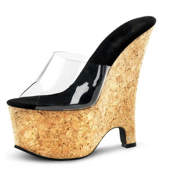 Summer Wedges Sandal Peep Toe PVC Transparent Women Heel Sandals High Wooden Platform 17CM Jelly Shoes Woman Drop Shipping