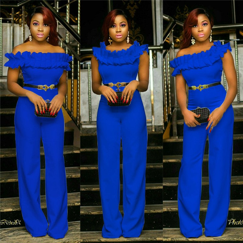 739e035af998 ... Summer Wide Leg Jumpsuit Women 2018 Sexy Romper Ruffle Off the Shoulder  Party Jumpsuits Club Fashion ...