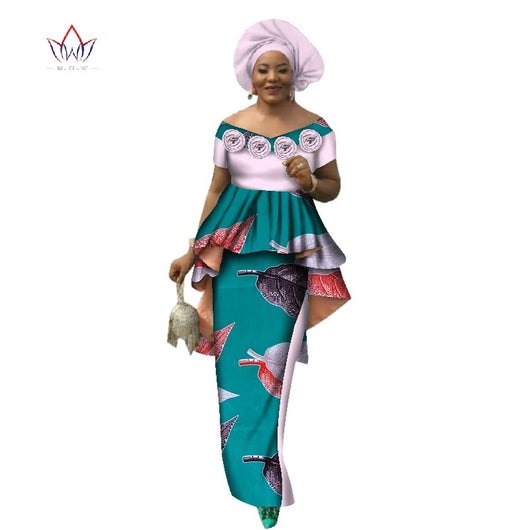 Summer Women Dress Skirt Sets Traditional African 2 Pieces Women Set Clothing Custom Made Tops + Skirts Hot Sale BRW  WY2636 1